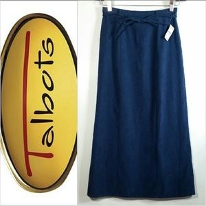 Talbots Belted Stretch Maxi Skirt Microsuede New